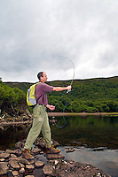 Man flyfishing at Loch An Draing, Scotland, UK