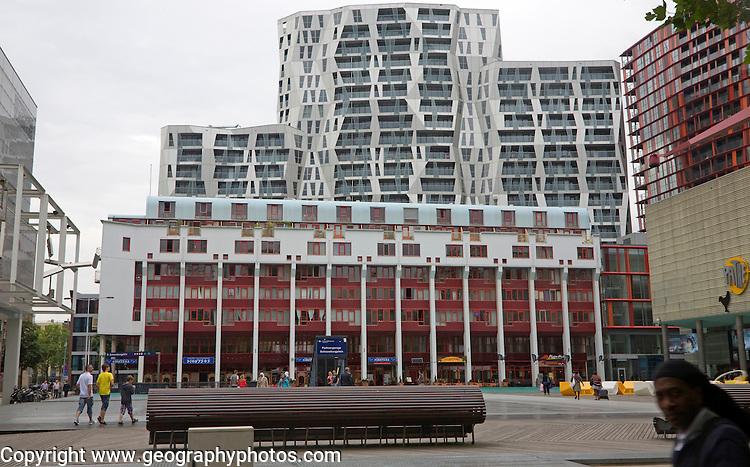 Modern apartment blocks of the Calypso development from the Schouwburgplein, Rotterdam, Netherlands