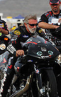 Nov. 1, 2008; Las Vegas, NV, USA: NHRA pro stock motorcycle rider Junior Pippin during qualifying for the Las Vegas Nationals at The Strip in Las Vegas. Mandatory Credit: Mark J. Rebilas-