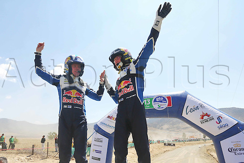 06.03.2016. Leon, Mexico. WRC Rally of Mexico, final stage.  Podium of winners Jari-Matti Latvala (FIN) – Miikka Anttila (FIN) - Volkswagen Polo R WRC