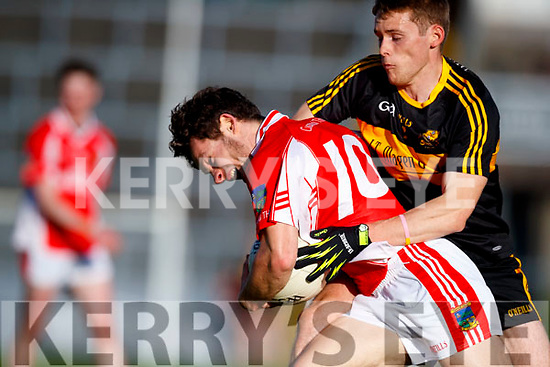 Gavin White Dr Crokes in action against Tomas Ó Sé West Kerry in the Kerry Senior Football Championship Semi Final at Fitzgerald Stadium on Saturday.