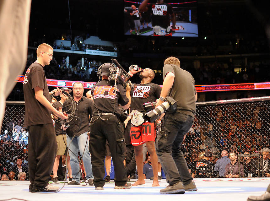 "24 SEPTEMBER 2011:   Jon ""Bones"" Jones slams a can of Xyience energy drink after defeating Quinton ""Rampage"" Jackson  during UFC 135 at the Pepsi Center in Denver, Colorado. *****For Editorial Use Only*****"