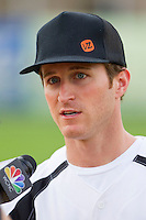 Kasey Kahne (5) of Team NASCAR prior to the softball game against Team NHRA in the NASCAR vs NHRA Charity Softball Challenge at CMC-Northeast Stadium on April 17, 2013 in Kannapolis, North Carolina.  Team NHRA defeated Team NASCAR 19-5.  (Brian Westerholt/Four Seam Images)