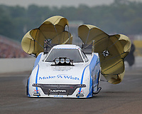 Aug 19, 2018; Brainerd, MN, USA; NHRA funny car driver Tommy Johnson Jr during the Lucas Oil Nationals at Brainerd International Raceway. Mandatory Credit: Mark J. Rebilas-USA TODAY Sports