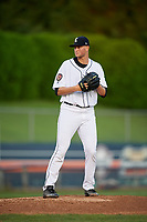 Connecticut Tigers starting pitcher Adam Wolf (43) delivers a pitch during a game against the Hudson Valley Renegades on August 20, 2018 at Dodd Stadium in Norwich, Connecticut.  Hudson Valley defeated Connecticut 3-1.  (Mike Janes/Four Seam Images)
