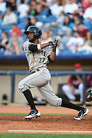 Dayton Dragons outfielder Gabriel Rosa (27) at bat during a game against the Lake County Captains on June 7, 2014 at Classic Park in Eastlake, Ohio.  Lake County defeated Dayton 4-3.  (Mike Janes/Four Seam Images)