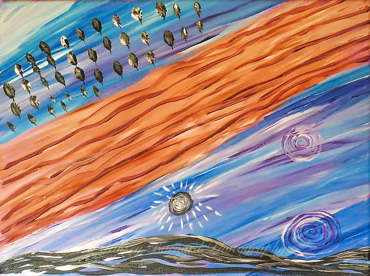 Imaginative and colorful painting of the sky. Maybe eagle feathers. Maybe ceremonial spirals. Maybe a black sun.