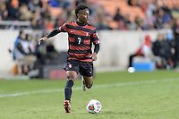 Houston, TX -  Friday, December 9, 2016: Bryce Marion (7) of the Stanford Cardinal looks to pass the ball in the first half against the North Carolina Tar Heels  at the  NCAA Men's Soccer Semifinals at BBVA Compass Stadium.