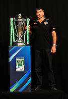 London, England. Exeter Chiefs Director of Rugby Rob Baxter poses with the Heineken Cup during the UK Heineken Cup and Amlin Challenge Cup season launch at SKY Studios on October 1, 2012 in London, England.