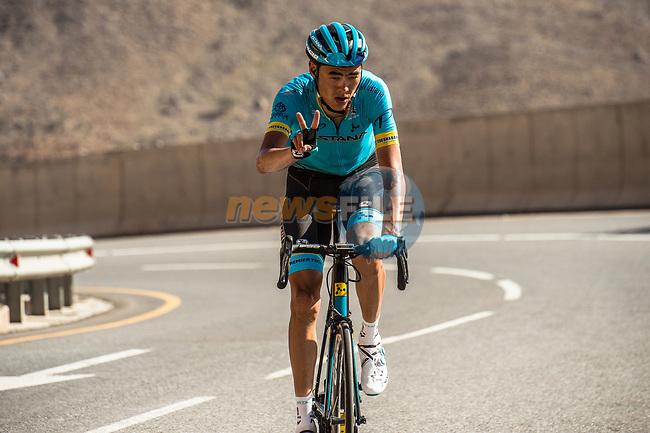 Zhandos Bizhigitov (KAZ) Astana Pro Team climbs towards the finish of Stage 5 of the 10th Tour of Oman 2019, running 152km from Samayil to Jabal Al Akhdhar (Green Mountain), Oman. 20th February 2019.<br /> Picture: ASO/Kåre Dehlie Thorstad | Cyclefile<br /> All photos usage must carry mandatory copyright credit (© Cyclefile | ASO/Kåre Dehlie Thorstad)