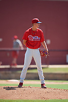 Philadelphia Phillies pitcher Tyler McKay (16) looks in for the sign during a Florida Instructional League game against the Atlanta Braves on October 5, 2018 at the Carpenter Complex in Clearwater, Florida.  (Mike Janes/Four Seam Images)