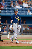 Montgomery Biscuits Brendan McKay (38) at bat during a Southern League game against the Biloxi Shuckers on May 8, 2019 at MGM Park in Biloxi, Mississippi.  Biloxi defeated Montgomery 4-2.  (Mike Janes/Four Seam Images)