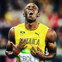 Jamaica's Usain Bolt (right) crosses the finish line to win the Men's 200m Final during the athletics event at the Rio 2016 Olympic Games at the Olympic Stadium in Rio de Janeiro on August 18, 2016.<br /> CAP/CAM<br /> &copy;CAM/Capital Pictures/MediaaPunch ***NORTH AND SOUTH AMERICAS ONLY***