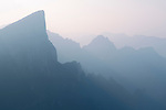 Foggy mountan landscape scenery in Tianmen Mountain National Park, Zhangjiajie, Hunan, China