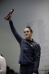 INDIANAPOLIS, IN - MARCH 18: Leah Smith of Virginia after the 1650 Yard Freestyle during the Division I Women's Swimming & Diving Championships held at the Indiana University Natatorium on March 18, 2017 in Indianapolis, Indiana. (Photo by A.J. Mast/NCAA Photos via Getty Images)
