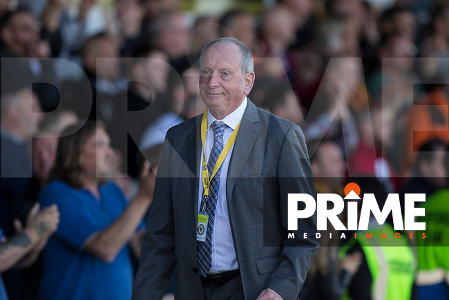 Newport County adviser Lennie Lawrence leaves the field at full time of the Sky Bet League 2 match between Newport County and Accrington Stanley at Rodney Parade, Newport, Wales on 22 April 2017. Photo by Mark  Hawkins.