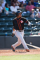Ademar Rifaela (2) of the Delmarva Shorebirds follows through on his swing against the Hickory Crawdads at L.P. Frans Stadium on June 18, 2016 in Hickory, North Carolina.  The Crawdads defeated the Shorebirds 1-0 in game one of a double-header.  (Brian Westerholt/Four Seam Images)