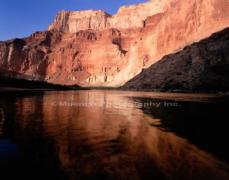 """Marble Canyon cliffs, Colorado River at Nankoweap Grand Canyon NP  ARIZONA"""