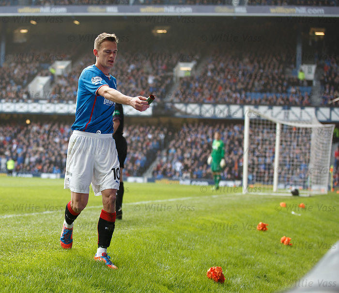 Dean Shiels disposes of a firework
