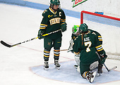 Taylor Willard (UVM - 27), Madison Litchfield (UVM - 30), Rachael Ade (UVM - 7) -  The Boston College Eagles defeated the University of Vermont Catamounts 4-3 in double overtime in their Hockey East semi-final on Saturday, March 4, 2017, at Walter Brown Arena in Boston, Massachusetts.