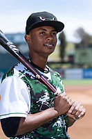 Lake Elsinore Storm infielder Esteury Ruiz (12) poses for a photo before a California League game against the Inland Empire 66ers at The Diamond on April 14, 2019 in San Jose, California. (Zachary Lucy/Four Seam Images)