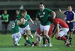 Ireland outside half Steve Crosbie finds a gap in the Welsh defence..Under 20 Six Nations.Wales v Ireland.Eirias - Colwyn Bay.01.02.13.©Steve Pope