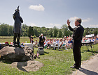 June 22, 2013; Notre Dame President Rev. John Jenkins, C.S.C. blesses the statue of former Notre Dame president Rev. William Corby, C.S.C. in Gettysburg National Military Park.<br /> <br /> Photo by Matt Cashore/University of Notre Dame