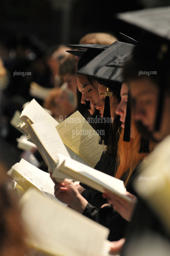 Students Singing, Yale University Commencement Ceremony on Cross Campus
