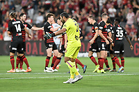 1st January 2020; Bankwest Stadium, Parramatta, New South Wales, Australia; Australian A League football, Western Sydney Wanderers versus Brisbane Roar; Jamie Young of Brisbane Roar remonstrates with his defenders after poor marking led to a Western Sydney goal - Editorial Use