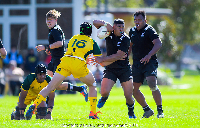 Gideon Wrampling in action during the rugby union match between New Zealand Schools and Australia Under-18s at St Paul's Collegiate in Hamilton, New Zealand on Friday, 4 October 2019. Photo: Dave Lintott / lintottphoto.co.nz