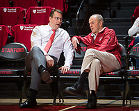STANFORD, CA - January 26, 2019: Jerod Haase, Dick Gould at Maples Pavilion. The Stanford Cardinal defeated the Colorado Buffaloes 75-62.