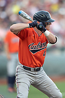Auburn Tigers first baseman Rankin Woley (4) at bat during Game 4 of the NCAA College World Series against the Mississippi State Bulldogs on June 16, 2019 at TD Ameritrade Park in Omaha, Nebraska. Mississippi State defeated Auburn 5-4. (Andrew Woolley/Four Seam Images)