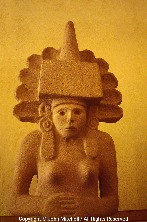 Statue of pre-Hispanic fertility god known as tlazolteol, Huasteca culture, Museo Regional Postosino iin the city of San Luis Potosi, Mexico