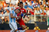 Action photo during the match Argentina vs Chile at Levis Stadium Copa America Centenario 2016. ---Foto  de accion durante el partido Argentina vs Chiler, En el Estadio de la Universidad de Phoenix, Partido Correspondiante al Grupo - D -  de la Copa America Centenario USA 2016, en la foto:  (i)-(d) Ramiro Funesmori, Eduardo Vargas<br /> --- 06/06/2016/MEXSPORT/PHOTOSPORT/ Andres Pina