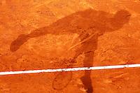 Ombra di Fernando Verdasco, Monte - Carlo, Monaco 20/4/2013 .Monte - Carlo Rolex Masters, Tennis, Atp World Tour.Tennis.Foto Marco Bertorello Insidefoto