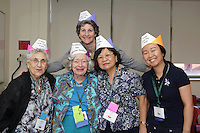 OrigamiUSA 2016 Convention at St. John's University, Queens, New York, USA. Creasers in Laura Kruskal's Crown class. Left to right: Juliana Biro, Laura Kruskal, unknown, Ah Moi Yip, Catherine Xu.