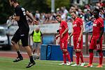 20.07.2019, Heinz-Dettmer-Stadion, Lohne, GER, Interwetten Cup, VfL Osnabrueck vs 1. FC Koeln<br /> <br /> im Bild<br /> Louis Schaub (Neuzugang Koeln #13), Benno Schmitz (Neuzugang Koeln #02), Kingsley Schindler (Koeln #11) beim Aufwärmen, <br /> <br /> Foto © nordphoto / Ewert
