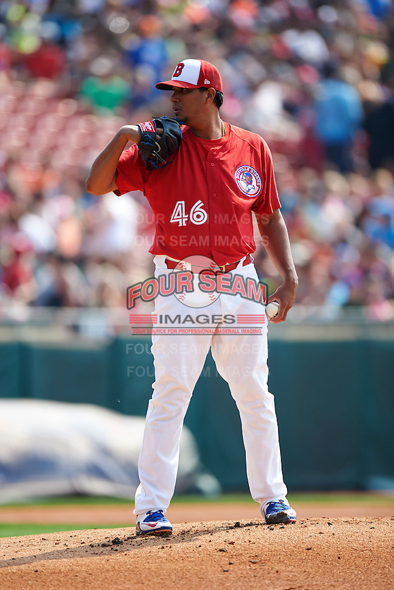 Buffalo Bisons pitcher Felix Doubront (46) looks in for the sign during a game against the Scranton/Wilkes-Barre RailRiders on June 10, 2015 at Coca-Cola Field in Buffalo, New York.  Scranton/Wilkes-Barre defeated Buffalo 7-2.  (Mike Janes/Four Seam Images)