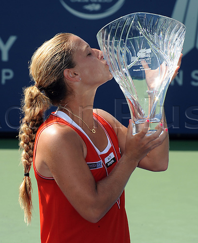 22.07.2012. La Costa, California, USA.  Dominika Cibulkova (SVK) with the winners trophy after defeating Marion Bartoli (FRA) in a finals match and winning the Mercury Insurance Open at the La Costa Resort and Spa.