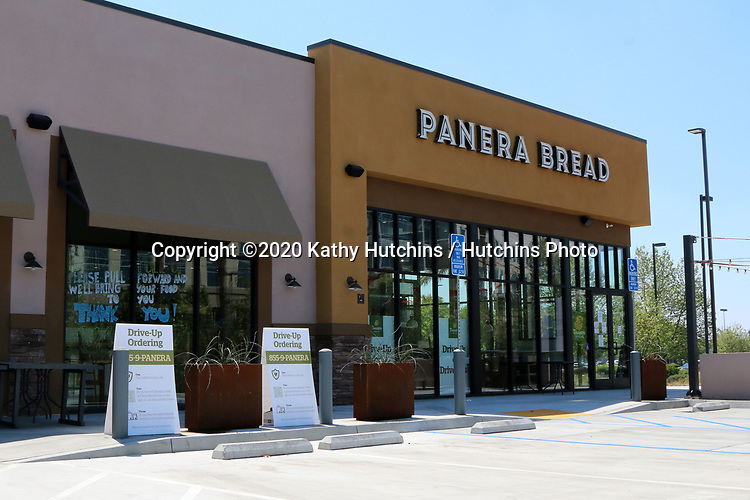 LOS ANGELES - APR 11:  Panera Bread Resturant Front at the Businesses reacting to COVID-19 at the Hospitality Lane on April 11, 2020 in San Bernardino, CA