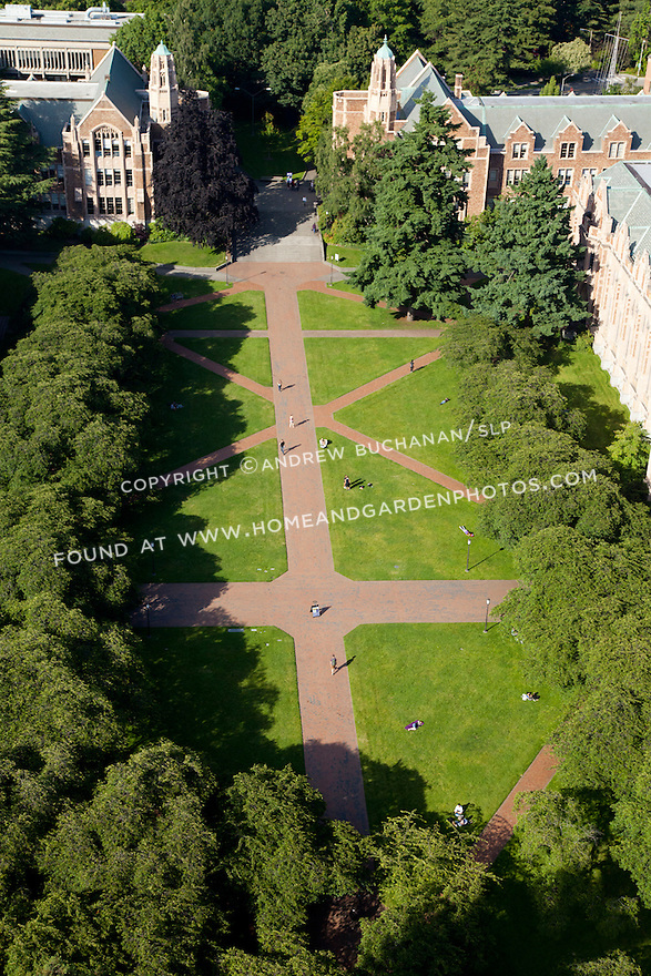 aerial photo of University of Washington's main Quad; Seattle, WA