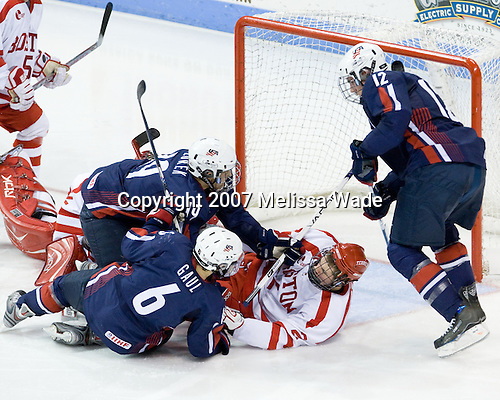 Justin Florek (US Under-18 19), Patrick Gaul (US Under-18 6), Eric Gryba (BU 2), Jimmy Hayes (US Under-18 12) - The Boston University Terriers defeated the US National Team Development Program Under-18s 3-2 on Saturday, December 8, 2007, at Agganis Arena in Boston, Massachusetts.