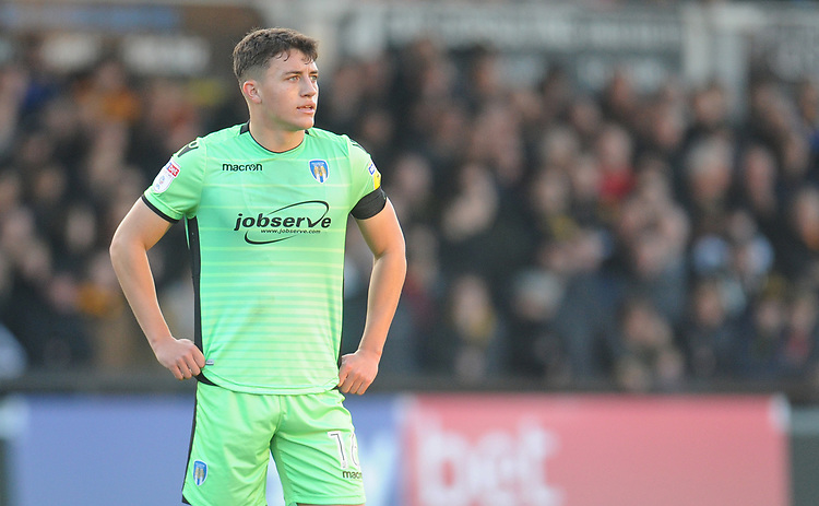 Colchester United's Diaz Wright<br /> <br /> Photographer Kevin Barnes/CameraSport<br /> <br /> The EFL Sky Bet League Two - Newport County v Colchester United - Saturday 17th November 2018 - Rodney Parade - Newport<br /> <br /> World Copyright © 2018 CameraSport. All rights reserved. 43 Linden Ave. Countesthorpe. Leicester. England. LE8 5PG - Tel: +44 (0) 116 277 4147 - admin@camerasport.com - www.camerasport.com