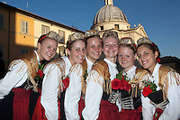Daniela, Petra, Monika, Christine, Sahra and Julia of the Folklore club Hinterskirchen at the honorary evening for Pope Benedict XVI. for his 85th Birthday in the courtyard of the papal summer residence at Castel Gandolfo in Italy, with costumes clubs from all over Bavaria. Castel Gandolfo, Italy, 03.08.2012...Credit: Nickels/face to face / Mediapunchinc  - ***online only for weekly magazines**** /NortePhoto.com<br />