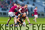Kieran Donaghy, Austin Stacks, under pressure from Slaughtneil players, Brendan Rogers and Conan Cassidy.  Austin Stacks in action against  Slaughtneil in the All Ireland Club Football Semi Final in Portlaoise on Sunday.