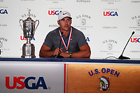 Brooks Koepka (USA) talks to the media during a press conference after winning the 118th U.S. Open Championship at Shinnecock Hills Golf Club in Southampton, NY, USA. 17th June 2018.<br /> Picture: Golffile | Brian Spurlock<br /> <br /> <br /> All photo usage must carry mandatory copyright credit (&copy; Golffile | Brian Spurlock)