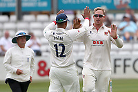 Simon Harmer of Essex celebrates taking the wicket of Dan Mousley during Essex CCC vs Warwickshire CCC, Specsavers County Championship Division 1 Cricket at The Cloudfm County Ground on 14th July 2019
