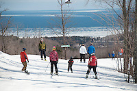 Skiing at Marquette Mountain ski area in Marquette Michigan.