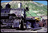 Side front view engine &amp; plow. No number seen. Durango yards.<br /> D&amp;RGW  Durango, CO