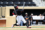 WINSTON-SALEM, NC - JUNE 04: Maryland's Marty Costes hits a home run. The West Virginia University Mountaineers played the University of Maryland Terrapins on June 4, 2017, at David F. Couch Ballpark in Winston-Salem, NC in NCAA Division I College Baseball Tournament Winston-Salem Regional Game 5. West Virginia won the game 8-5.